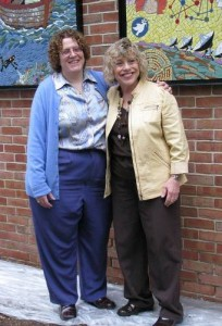 Library Director Mary Witherell (left) with artist Rhonda Heisler